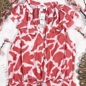 Ann Taylor LOFT Orange & White Print Silk Dress